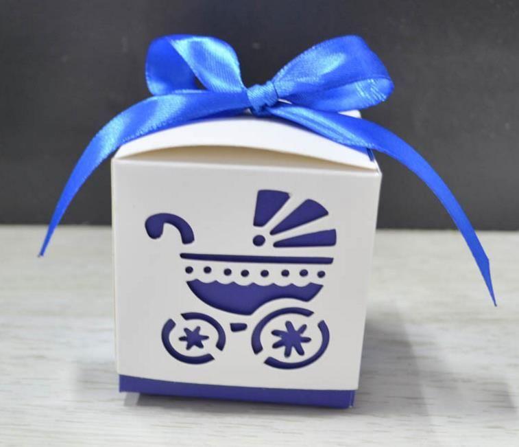 Romântico Laser Cut do transporte de bebê do carrinho de criança de casamento favor do chuveiro dos doces envoltório Caixas Footprints Baby Gift Partido Bag Corda fita Embalagem