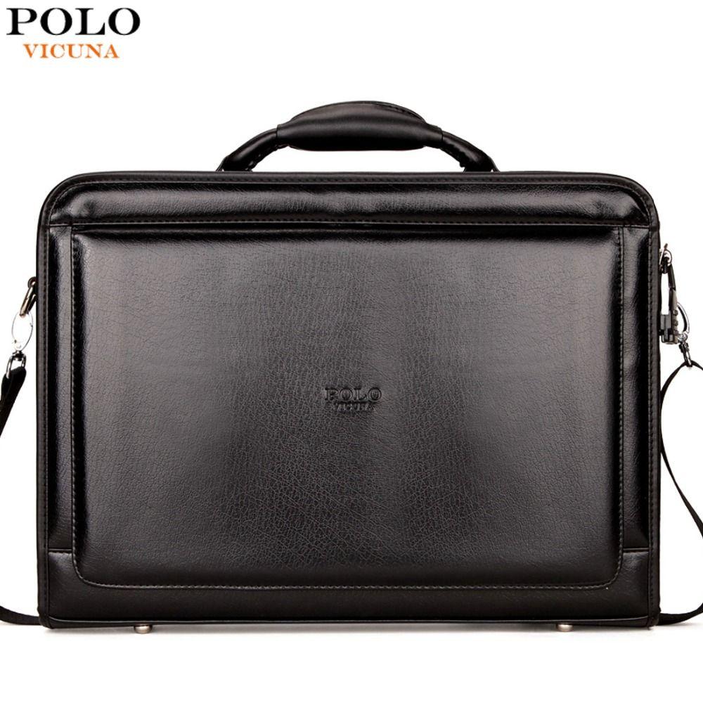 Wholesale- VICUNA POLO Classic Large Size Mens Briefcase With Calculator  Luxury Brand Password Lock Open Men Maleta Men Black Laptop Bag Brand  Briefcase ... e30f4fceb48fc