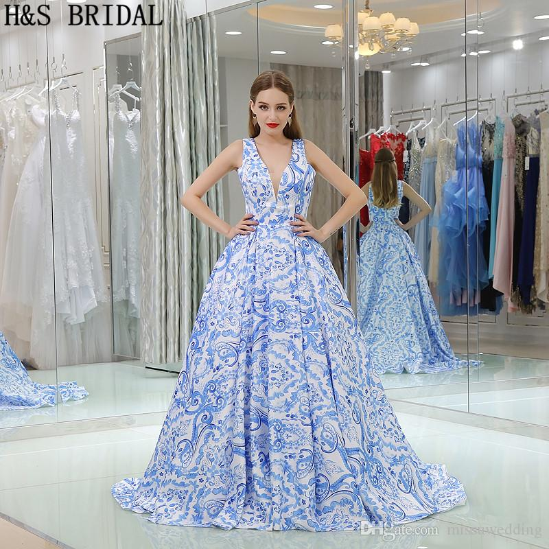 Blue Printed Evening Gowns Long Satin Ball Gown Designer 2017 New ...