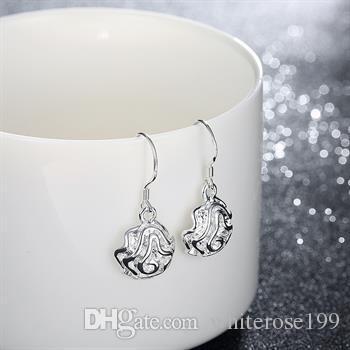 Al por mayor - el precio más bajo regalo de Navidad 925 pendientes de plata de ley E36