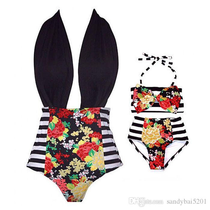 Mom Girl Swimming Suit Mother Daughter Striped Bikini Swim Wear Mom Kids Flower Matching Swimwear Family Match Swimsuit Bathing Beachwear