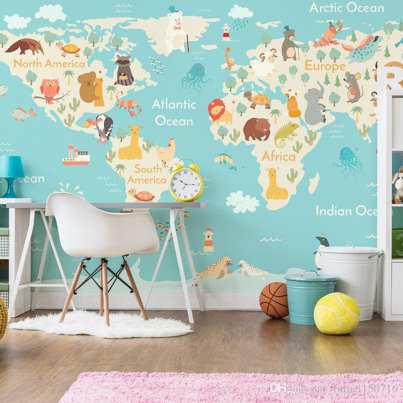 Cartoon animal world map wallpaper children room boys and for Childrens wall mural wallpaper