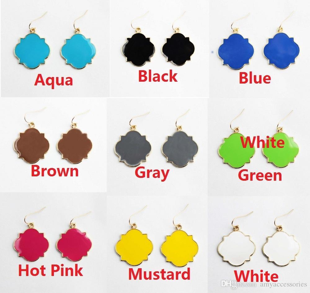1f89d835b 2019 Fashion Women Costume Earrings Jewelry Enamel Monogram Blanks  Quatrefoil Clover Drop Earrings Initial Monogram Blank Enameled Earrings  From ...