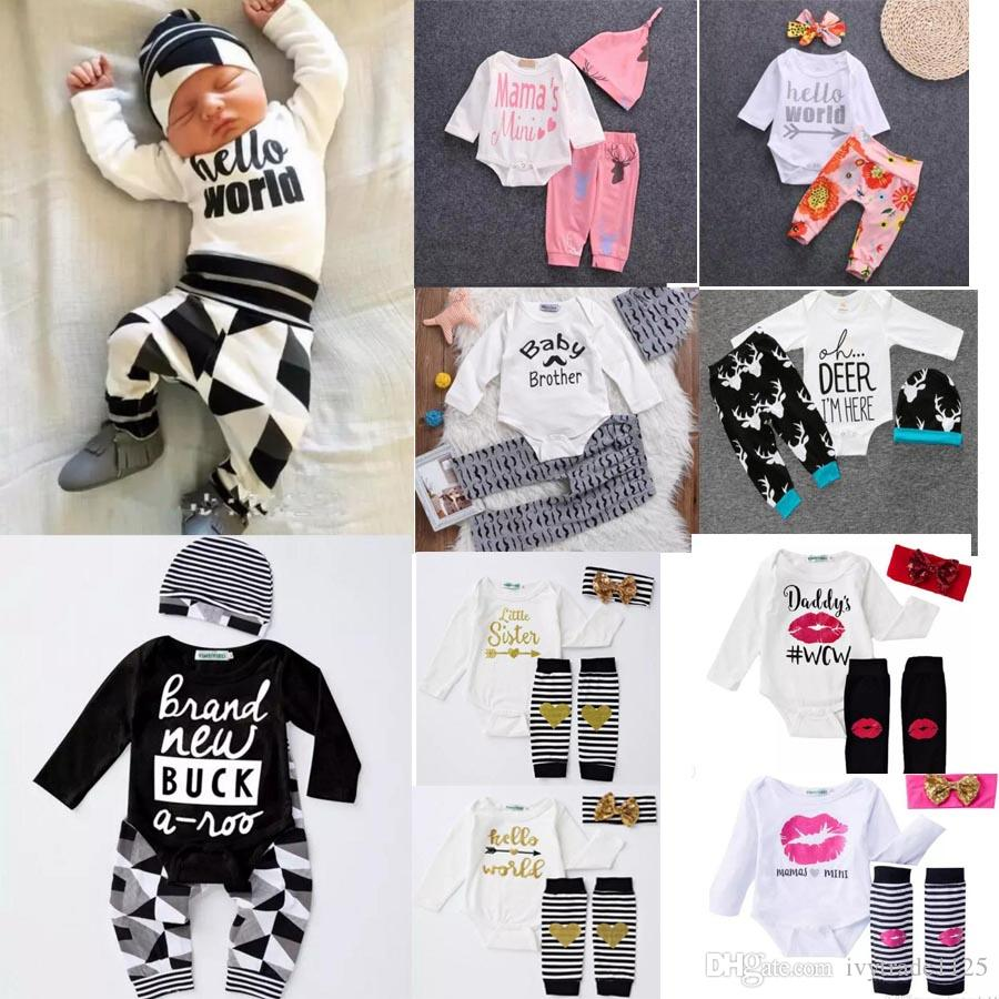 more 30 styles NEW Baby Baby Girls Christmas hollowen Outfit Kids Boy Girls 3 Pieces set T shirt + Pant + Hat Baby kids Clothing sets