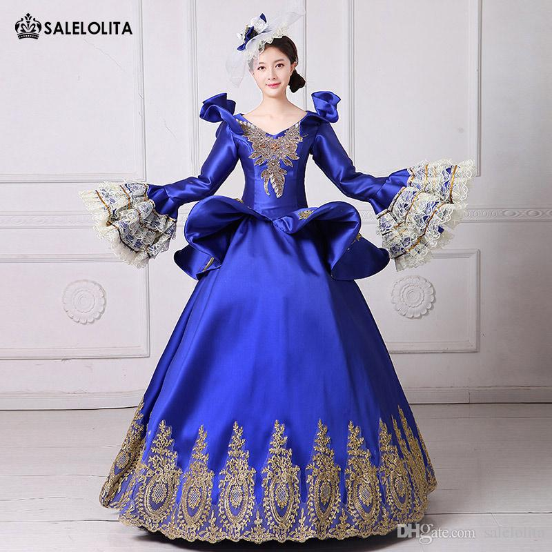 2edff8e85b967 2018 Royal Blue Embroidery Vampire Queen Masquerade Ball Gown Marie  Antoinette Southern Belle Dress Theatrical Clothing Mens Costumes Teen  Costumes From ...