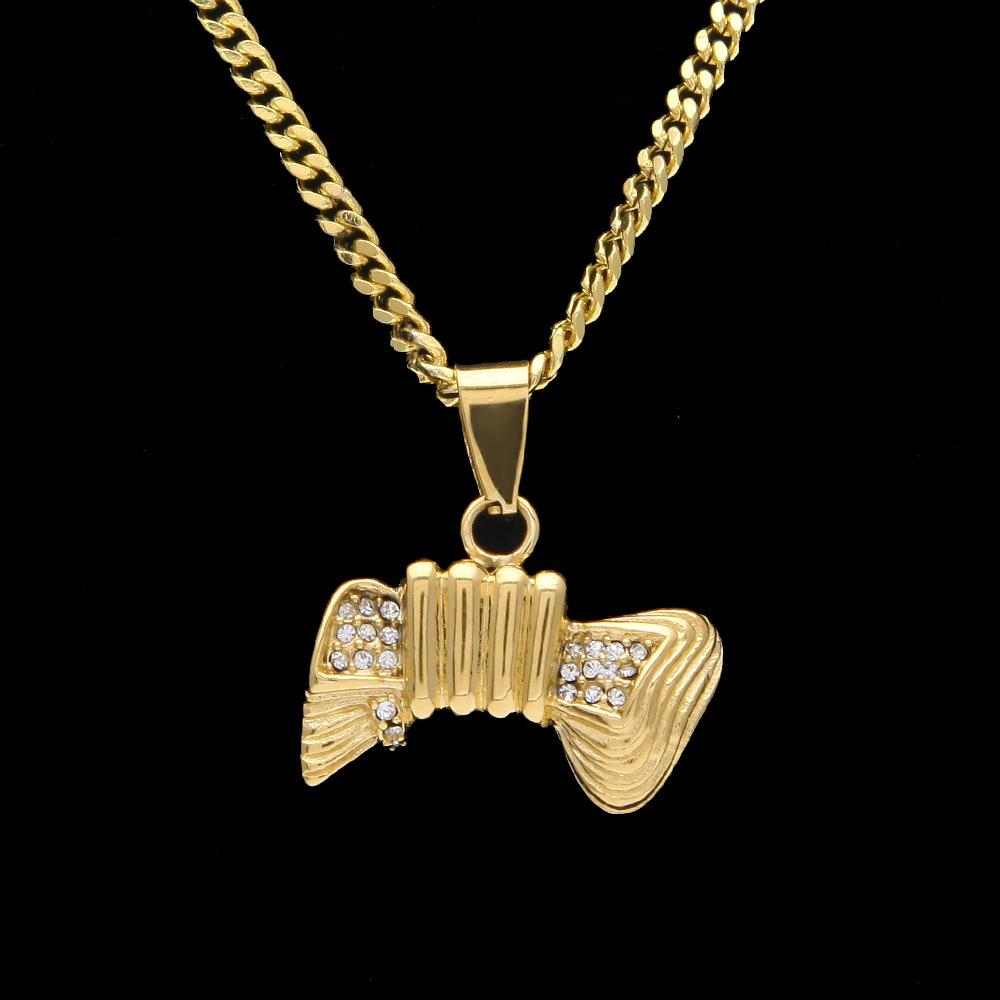 New Pop Hip Hop Link Chains For Men Gold Plated Bone Pendant Rapper Luxury Party Jewelry Hiphop Accessories