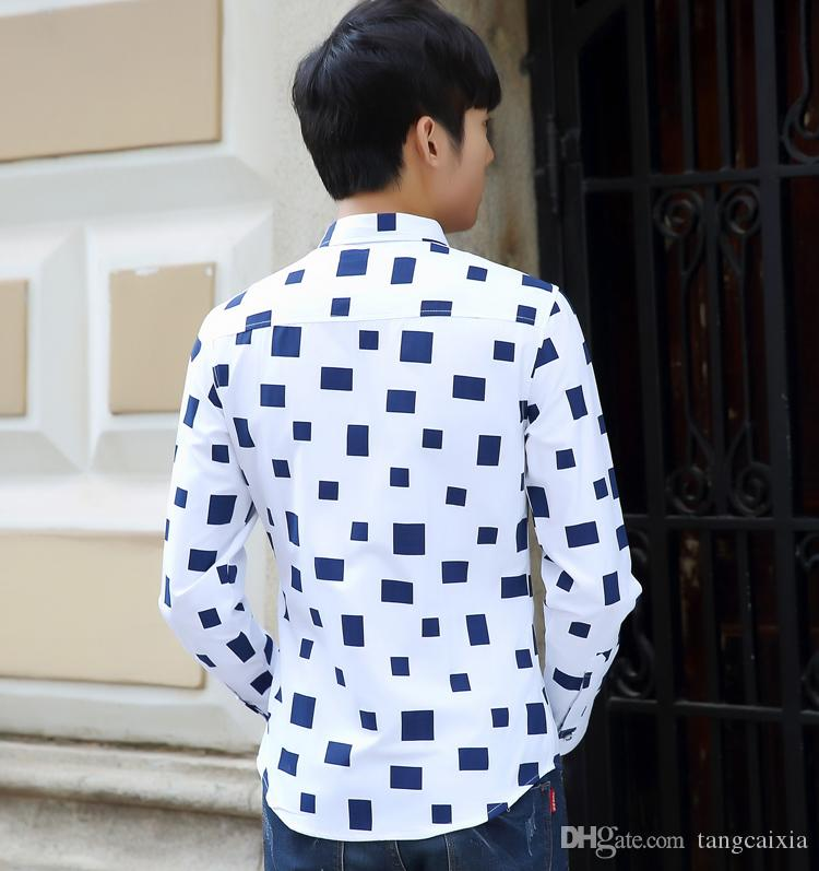 Wholesale men causal block printed long sleeve shrit Cotton Slim Fit French Cuff Casual Male Dress Shirt