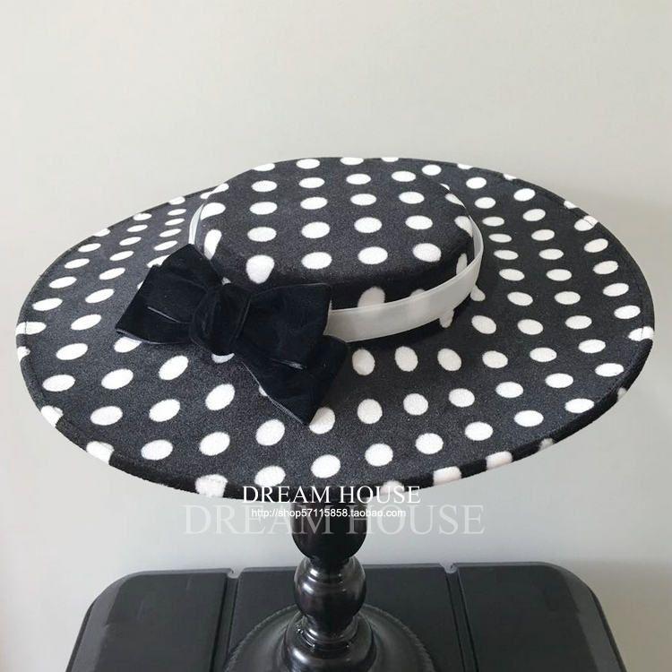 Женщина головной убор волосы Хепберн Звезды, Ретро британские невесты, горошек черные и белые шляпы, головные уборы, бабочки шляпы, фото реквизит