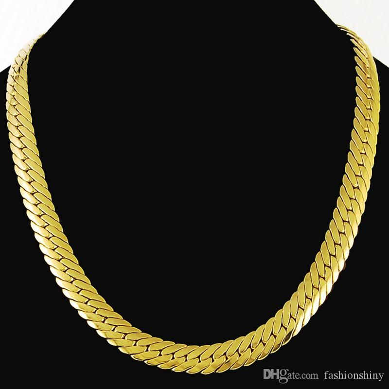 Коренастый змея цепи 24 K желтое золото заполнены твердые мужские елочка ожерелье 24 дюймов длиной 9 мм шириной , 74 г