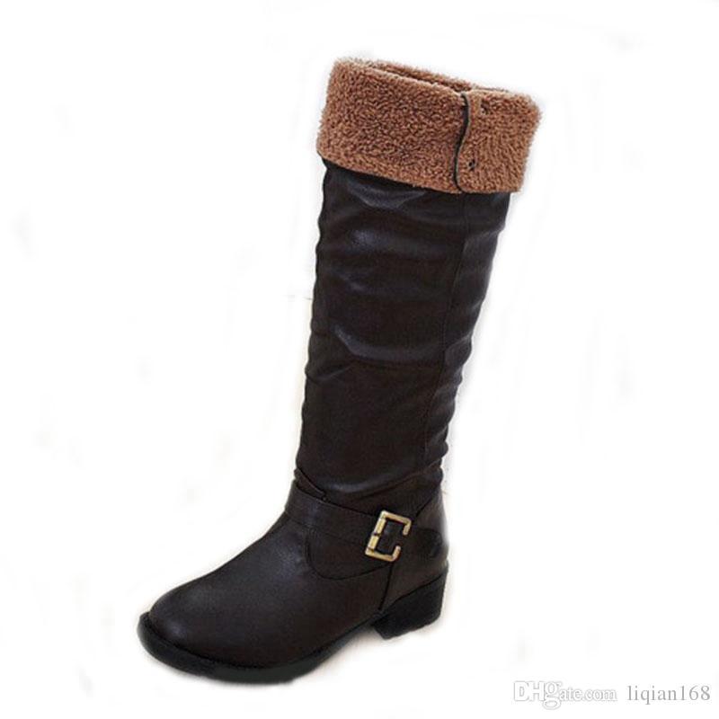 Mujer Zapatos Cuero Patentado Otoño / Invierno Botas de nieve / Botas de Moda Botas Tacón Plano Hasta la Rodilla Negro BmWdwr