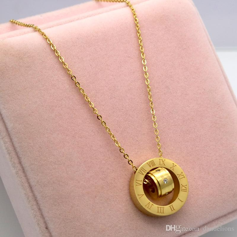Design Luxury Brand roman Love Necklace for Women Stainless Steel Accessories Zircon Heart Love Necklace ROMAN For Women Jewelry