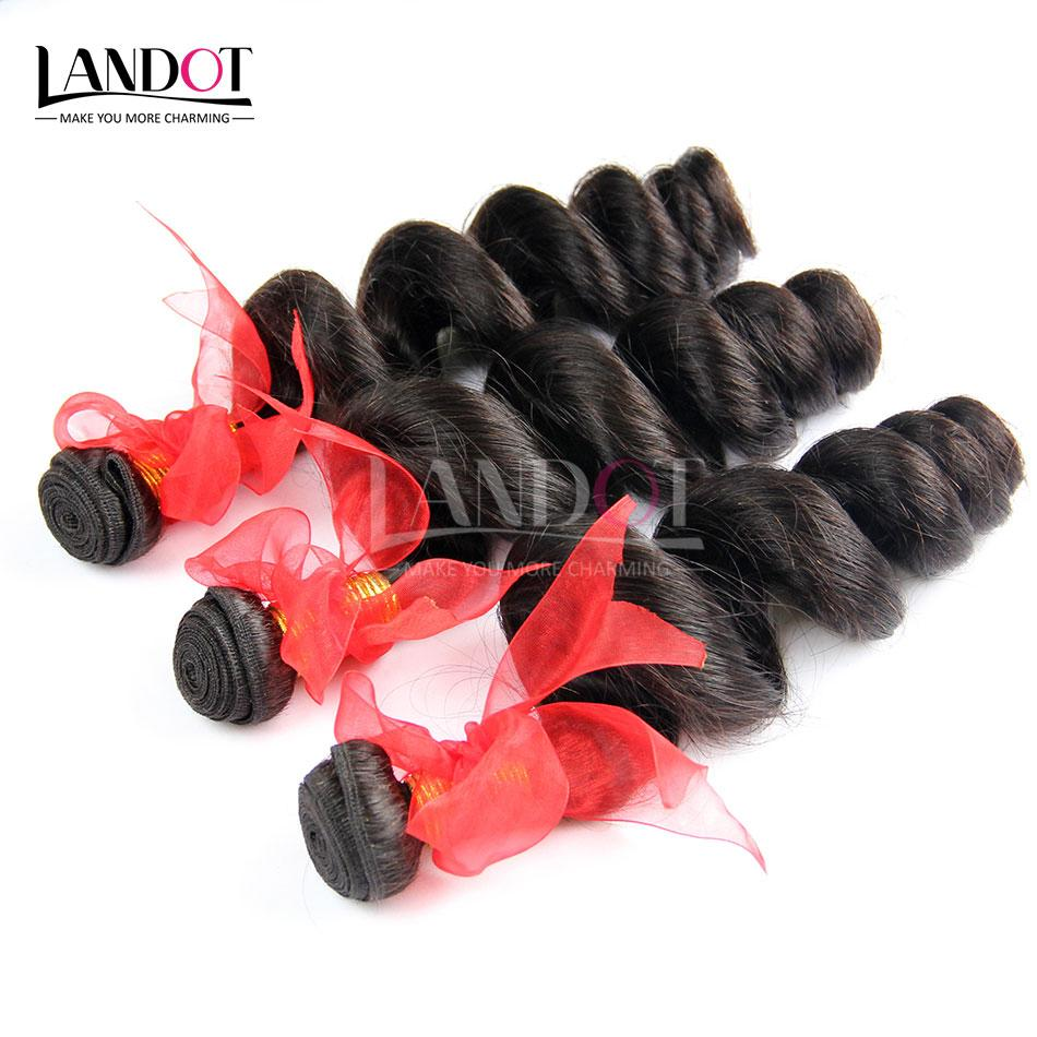 Brazilian Loose Wave Wavy Virgin Hair Weave Bundles Unprocessed Brazilian Loose Curly Human Hair Extensions Double Wefts Natural Black