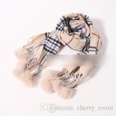 Sıcak satış Moda Eşarp Klasik Kız Kış Eşarp Ekose yeni pamuk Top Püsküller Çocuk Atkılar Çocuklar Yürüyor Eşarp Çocuk A7553 Giymek