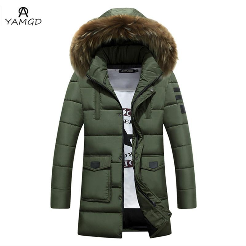 ae6d5010e Wholesale- Men s winter jacket 2017 men high-grade fashion business pure  color long coat Thickening long warm Fur collar hooded windbreaker