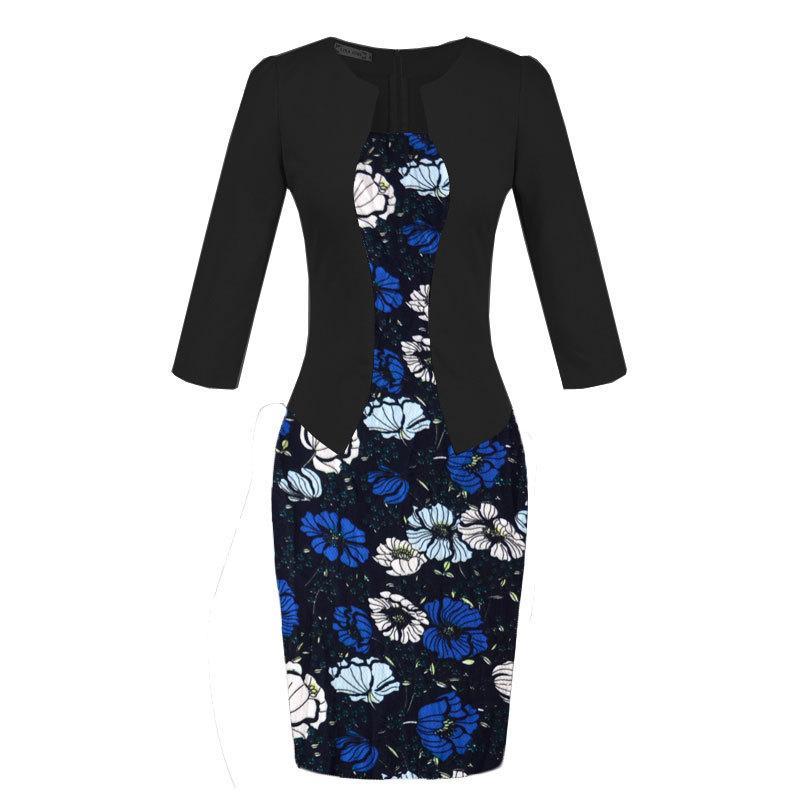Elegant office lady pencil dress false two piece suit women work dresses long sleeve coat floral print skirts with belt plus size ML-402