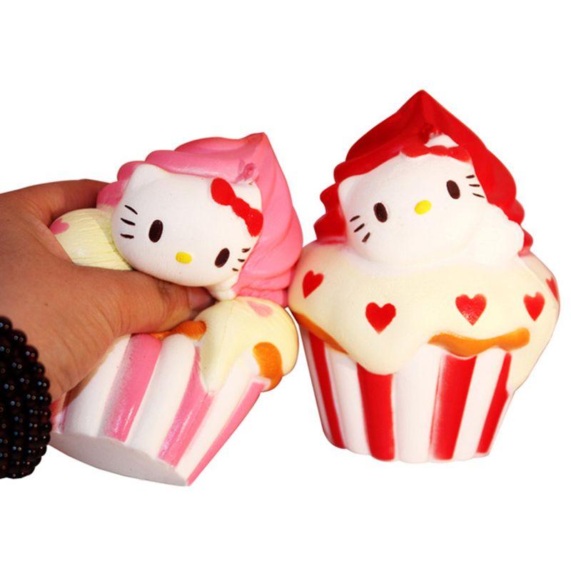 New 12cm Jumbo Squishy Hello Kitty Ice cream cone Puff Cake Phone Strap Cat Charms Slow Rising Kid Toy Gift