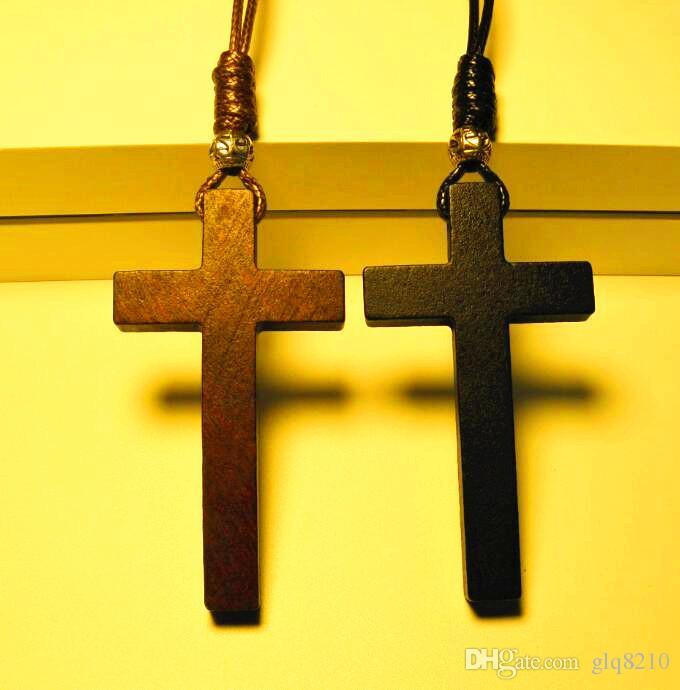 Braid wax rope Jesus Wood Cross pendant necklaces vintage Tibetan silver beads long sweater chain lovers handmade Fashion jewelry New