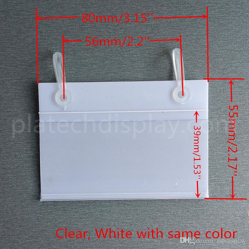 Various Sizes PVC Plastic Price Tag Sign Label Display Holder With 2 Buckles For Supermarket Shelf Stand Hook Rack