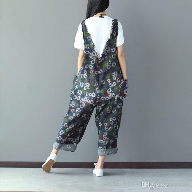 Ankle-length Pants Plus Size Elegant Jumpsuit Women Cotton Floral 2017 Autumn Rompers Womens Jumpsuit Casual Vintage Overalls New Arrival