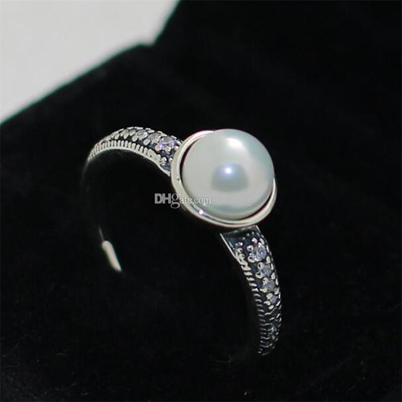 1426e5d05 2019 High Quality 100% 925 Sterling Silver Elegant Beauty Ring With Pearl  And Clear CZ European Pandora Style Jewelry Charm From Lrz97kj, $17.49 |  DHgate.