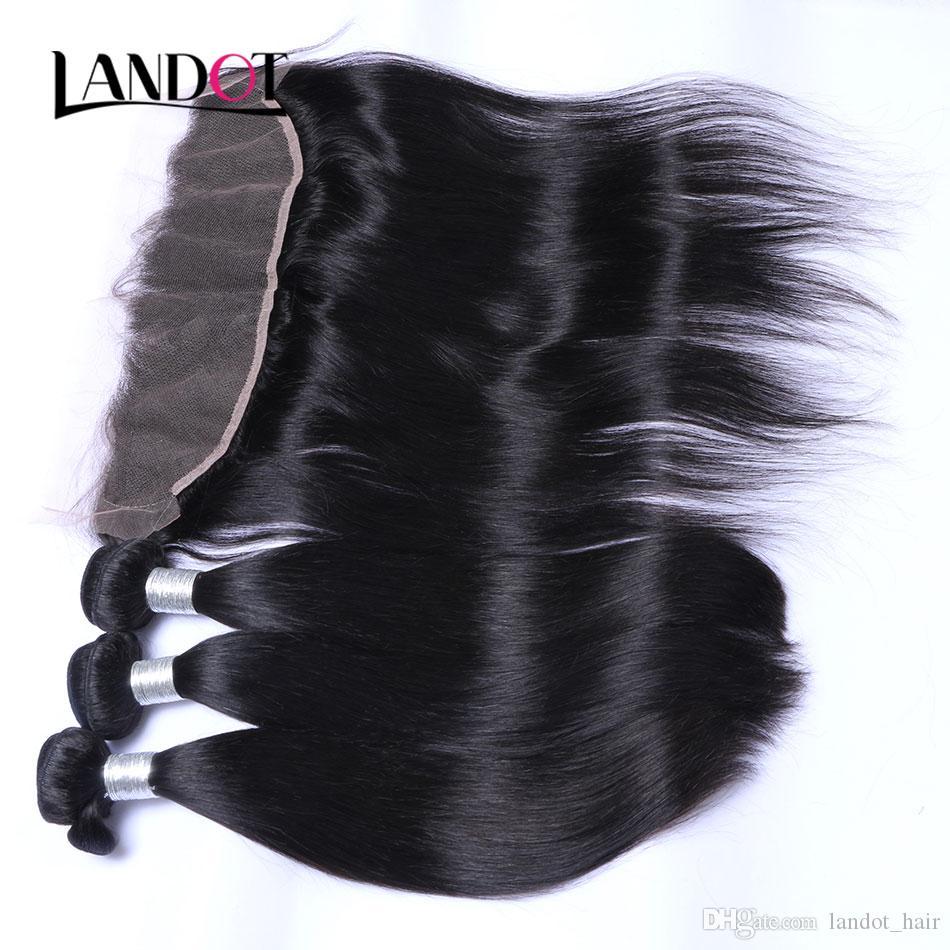 Oído a oreja 13x4size Cierre frontal del cordón con 3 paquetes El cabello humano virgen recto brasileño teje los cierres de pelos de remy brasileño sin procesar