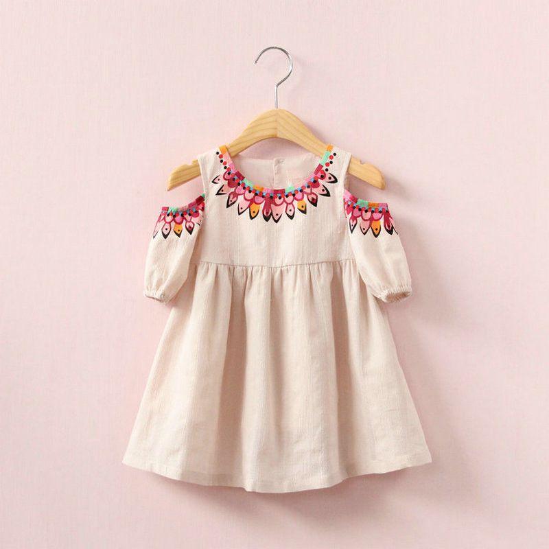 Pembe Prenses Doğum Günü Batı Kızlar Elbiseler Vintage Bebek Kız Elbise Çocuk Üstü Diz Elbise Sevimli Kız Butik Kıyafet