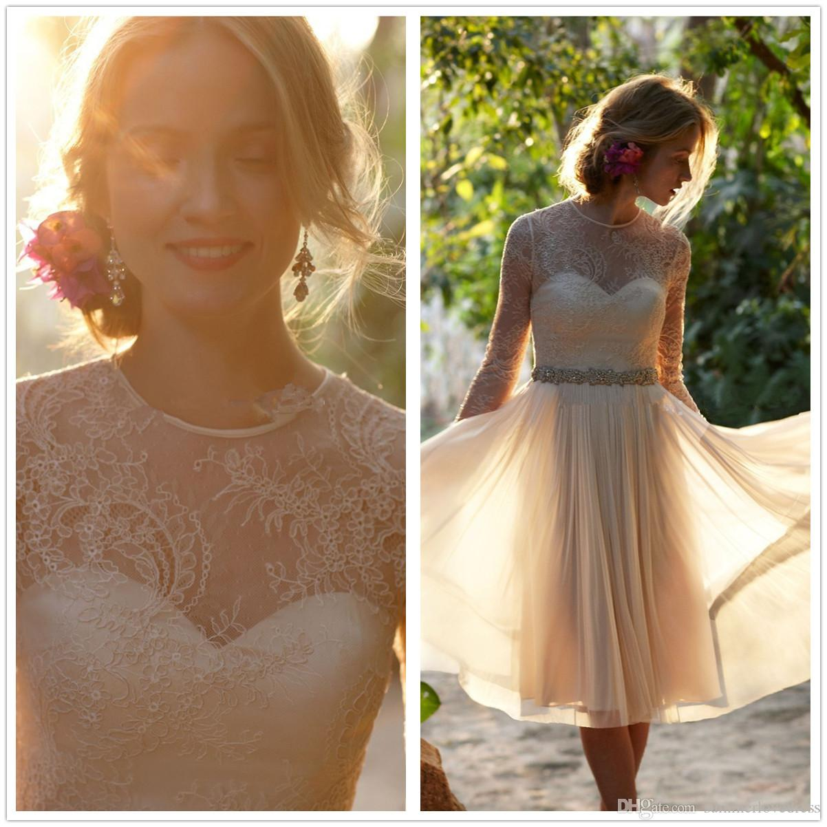 2017 New Long Sleeves Lace Short Bridesmaid Dresses Chiffon Ruffles Beaded Waistband Knee Length Wedding Party Dresses With Buttons