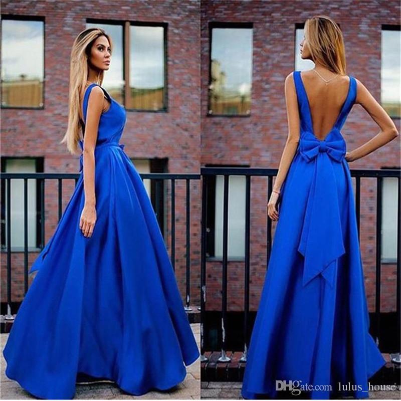 7be79f687 Compre Royal Blue Party Dresses 2017 Vestidos Largos Para Bodas Sexy  Vestidos Abiertos Noche Vestidos Largo Barato Bowknot Noche Vestidos Fiesta  A  99.5 Del ...