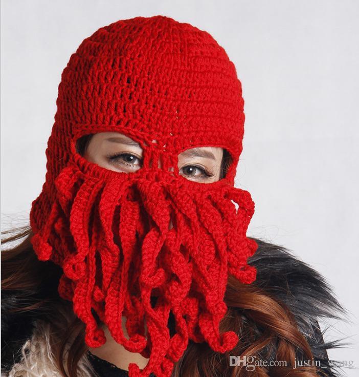 New Creative Handmade Knitting Wool Funny Animal Hats Beard Octopus