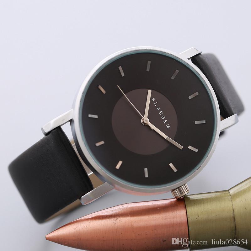 2017 Marca de lujo KLASSE14 Moda Casual Relojes de cuero Mujer Hombre Busines Reloj