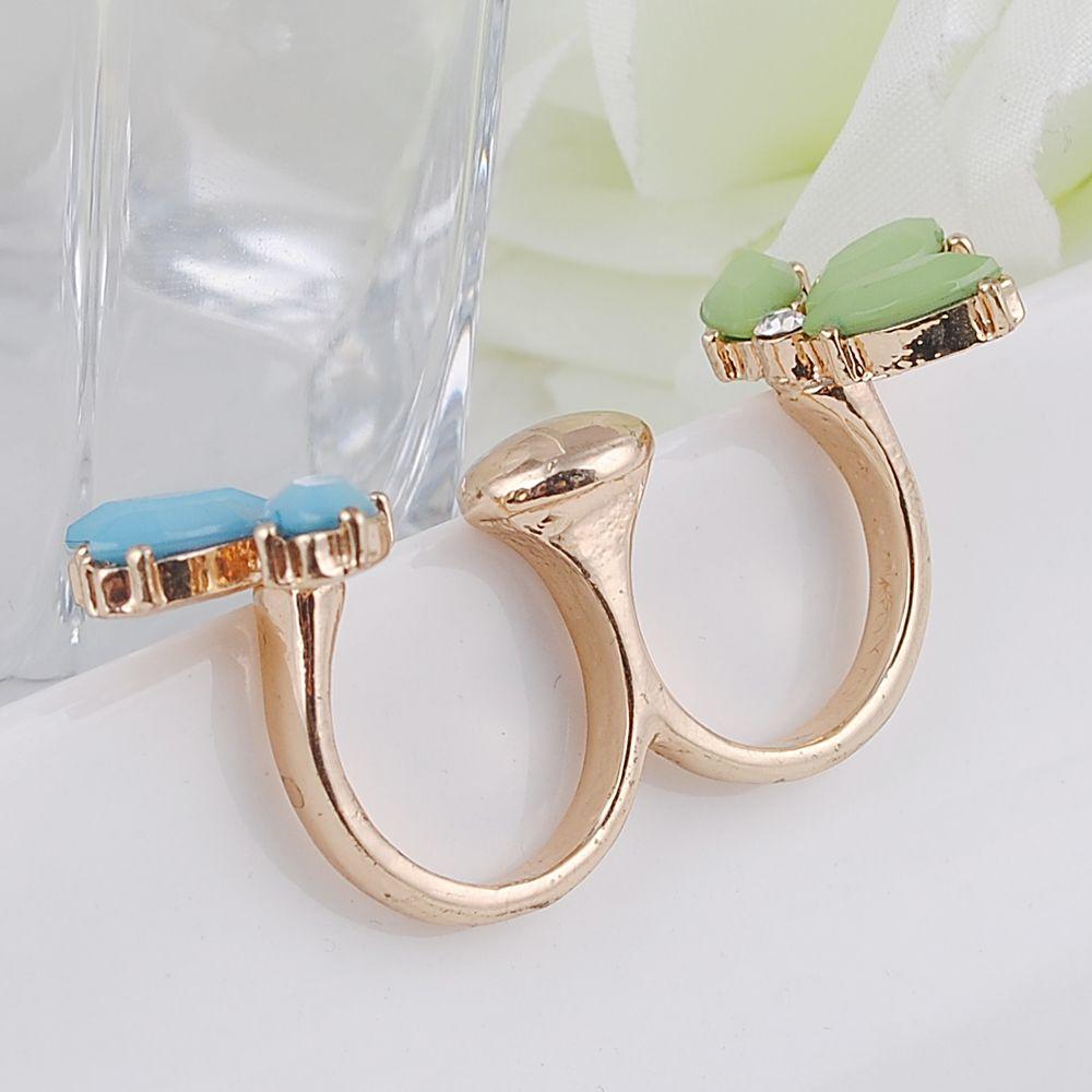 Cristal Duplo Anéis de Dedo para As Mulheres Ajustável Two Finger Cuff Banda Anel Aberto Frete Grátis