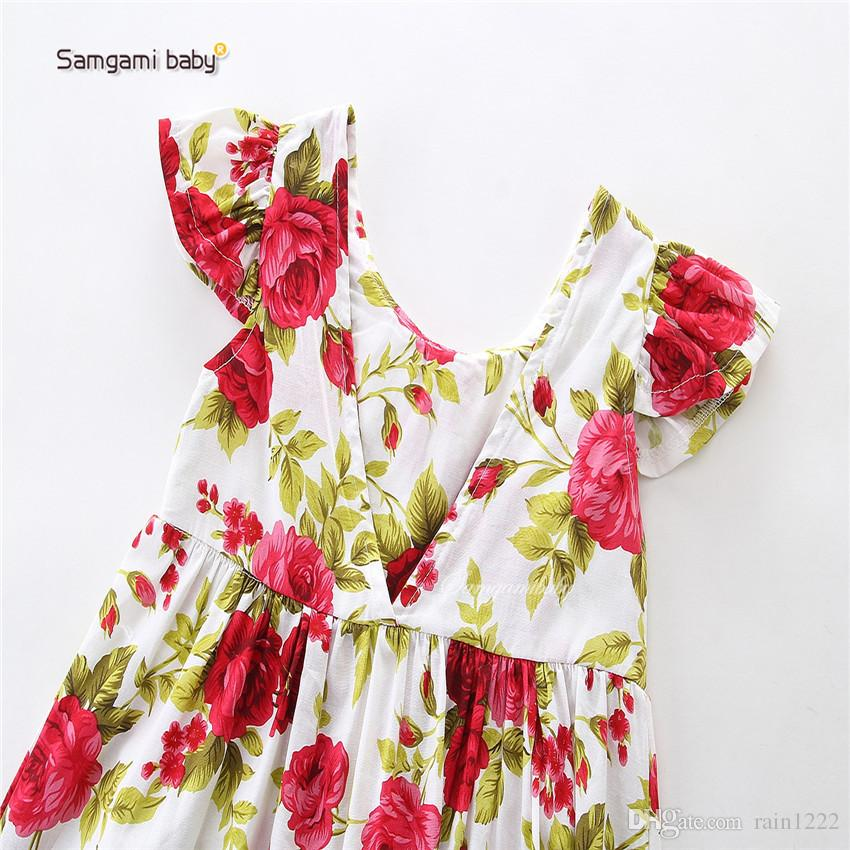 New Baby Floral Doll Dress For Girls Summer Cotton Lace Doll Collar Pleated Dress Handband Priness Kids Children Short Sleeve Dress For 0-3T