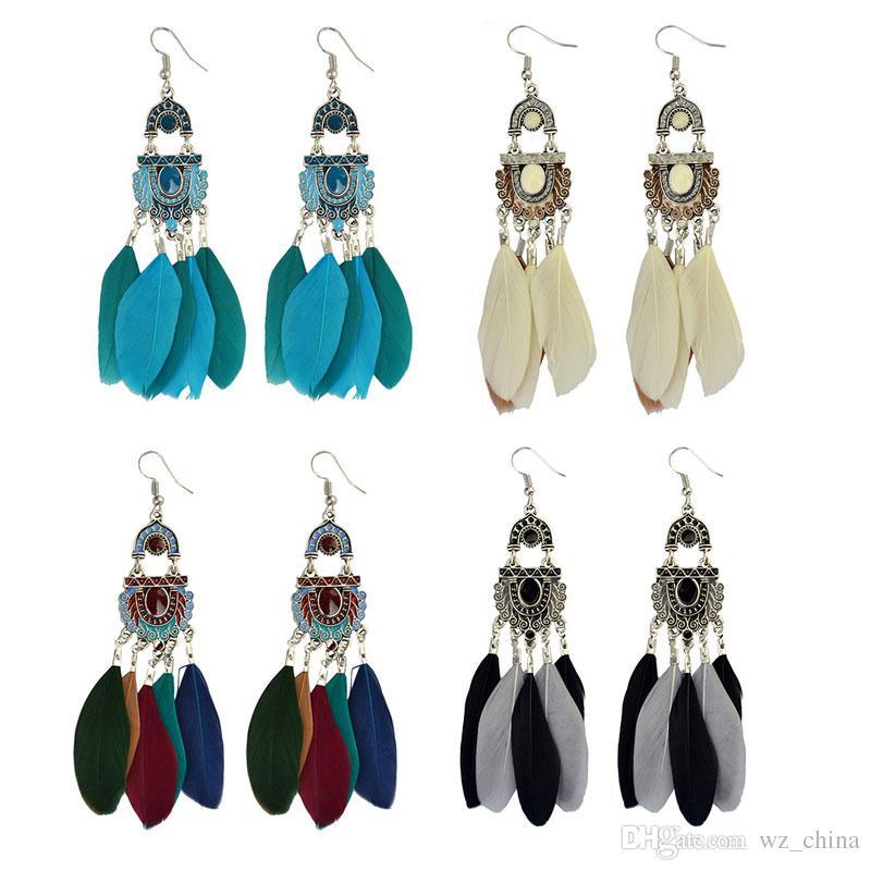 Archiwalne frędzle Kolczyki Moda Biżuteria Eliptyczna Hoop Biżuteria Ear Biżuteria Folk Styl Długie Pióro Balowe Kolczyki Dla Kobiet