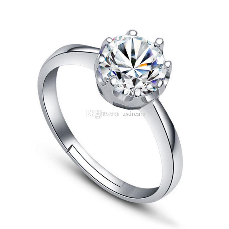 925 Silver Zircon Crystal Crown Ring Adjustable Finger Ring Nail Rings for Women Bride Wedding Jewelry DROP SHIP 080169