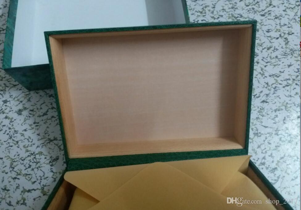 Spedizione gratuita Luxury watch Mens Rolex Watch Box Originale interno esterno Womans Orologi Scatole da uomo Orologio da polso scatola verde libretto card