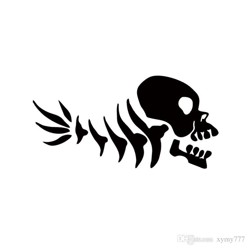 2017 Venta Caliente Car Stying Peces Divertidos Del Cráneo de Los Huesos Etiqueta Engomada Del Coche Para La Ventana Del Parachoques Vinyl Decal Jdm
