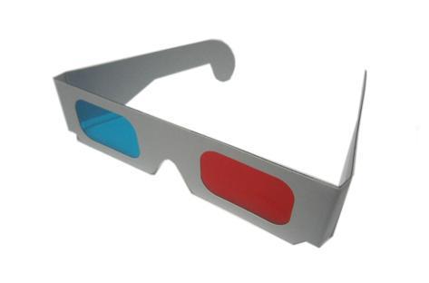 Universal más nuevo marco de papel gafas 3D rojo azul / cian colores película realidad virtual gafas
