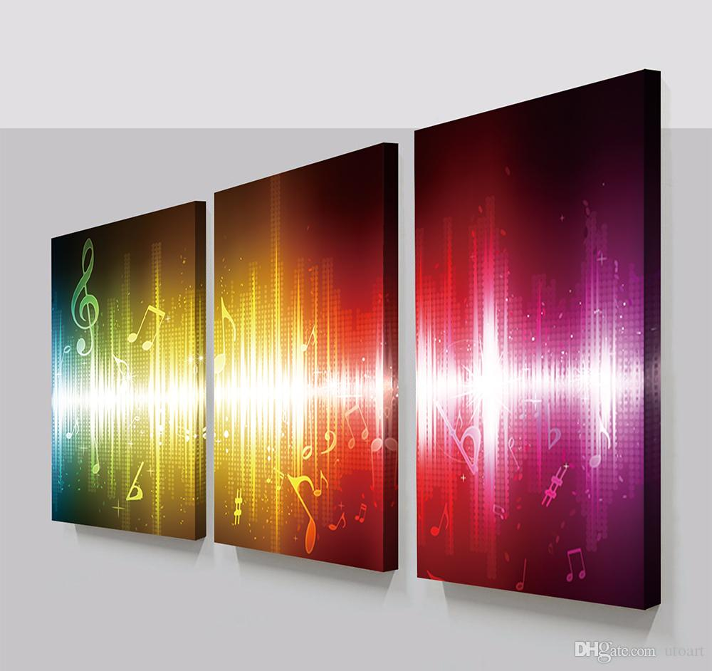 2018 3 Panels Beating Music Notes Abstract Canvas Painting Home Decor  Canvas Wall Art Picture Digital Art Print For Room Wall From Utoart, $21.43  | Dhgate.