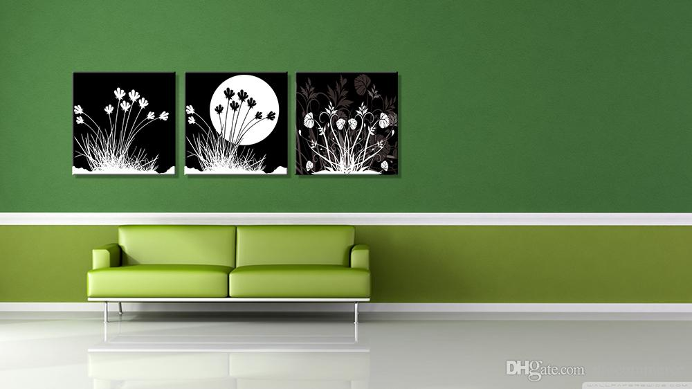 Peace Large Modern 3 Panels Black White Moon Flower Landscape Giclee Canvas Print Wall Art Work to Hang For Living Room Kitchen Home