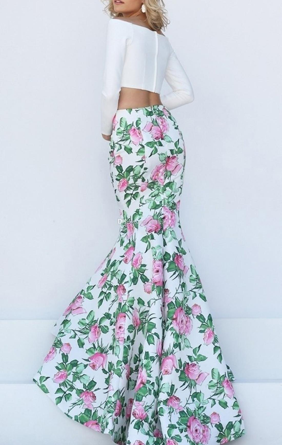 2019 Mermaid Elegant Bateau Neck Women Prom Dresses Two Pieces Long Sleeves White Satin Flower Print Skirts Zipper Plus Evening Party Gowns