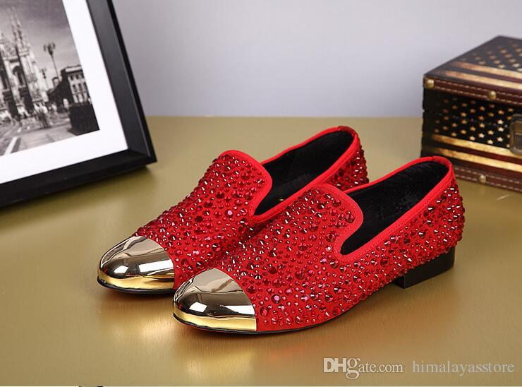 Neue Art-Männer-Partei-Hochzeit Schuhe Rot / Schwarz-echtes Leder atmungsaktiv Nieten Boot Flats Schuhe Big