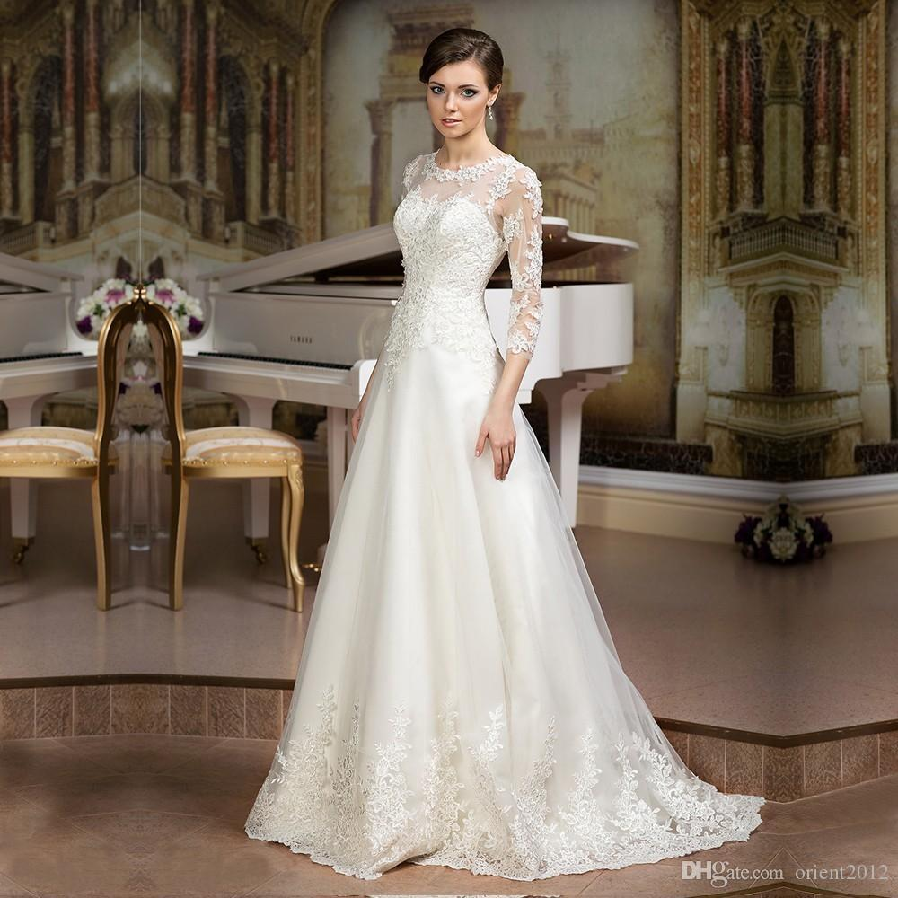 Discount Long Sleeve Lace Wedding Dresses 2017 New Simple: Discount New Elegant Sheer Lace Appliques A Line Wedding