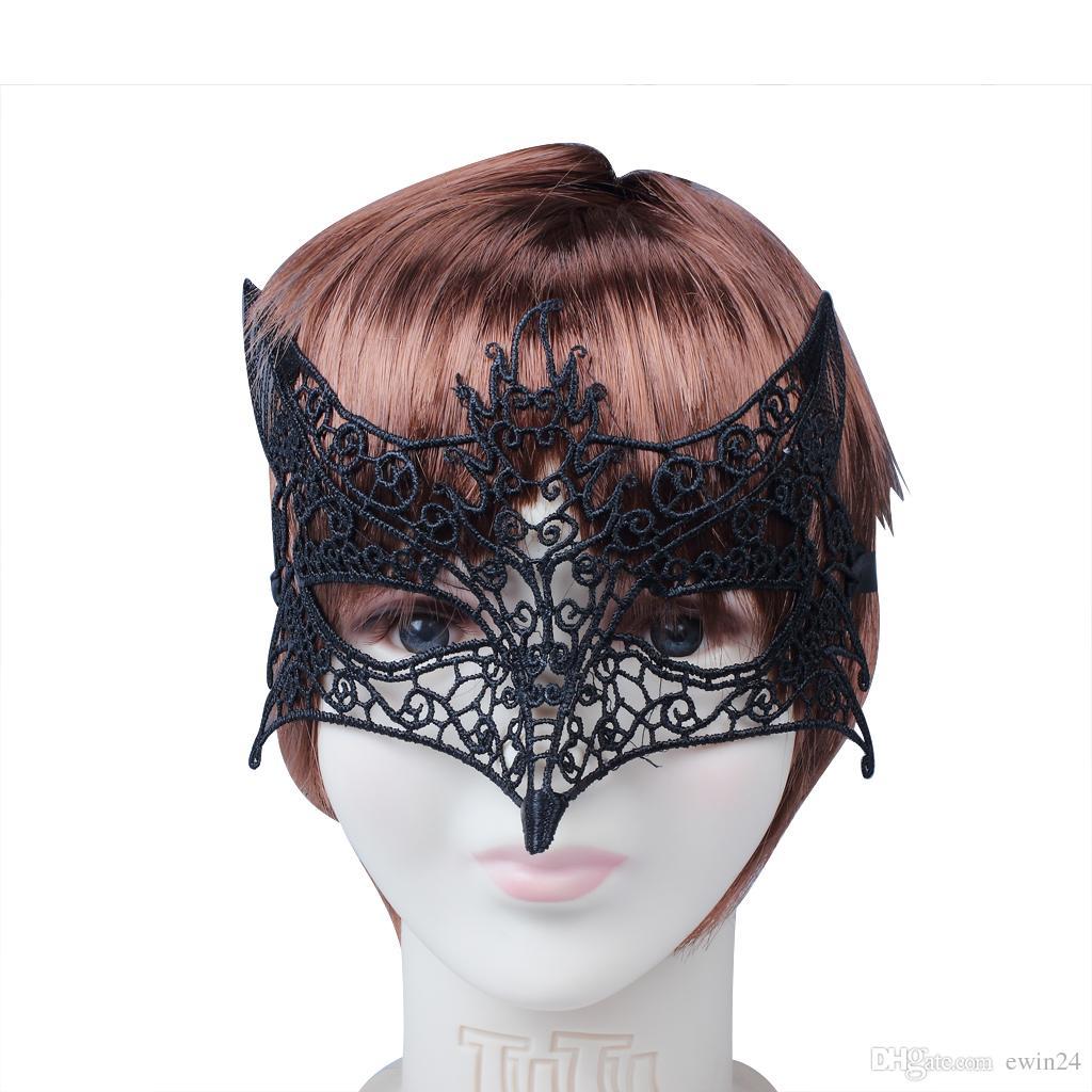 Nouveau Renard Noir Sexy Dentelle Vénitien Demi Fleur Eye Masque Mascarade Costume Party Masque Halloween De Noël