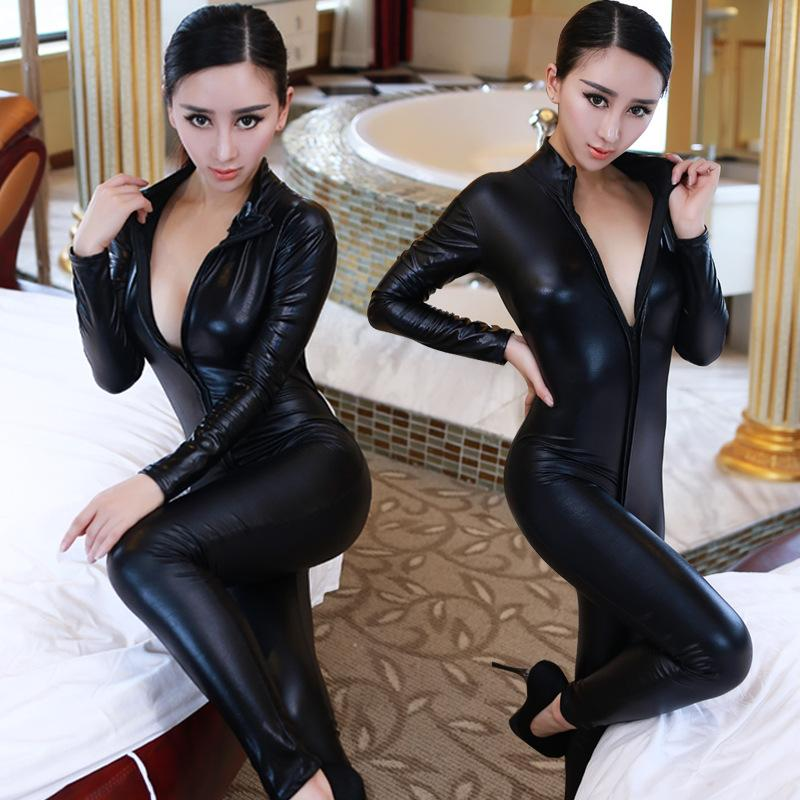 fc311fcdb4 2019 Wholesale Hot Sexy Catwomen Faux Leather Latex Zentai Catsuit Smooth Wetlook  Jumpsuit Front Zipper Elastic Black PU Full Bodysuit Playsuit From ...
