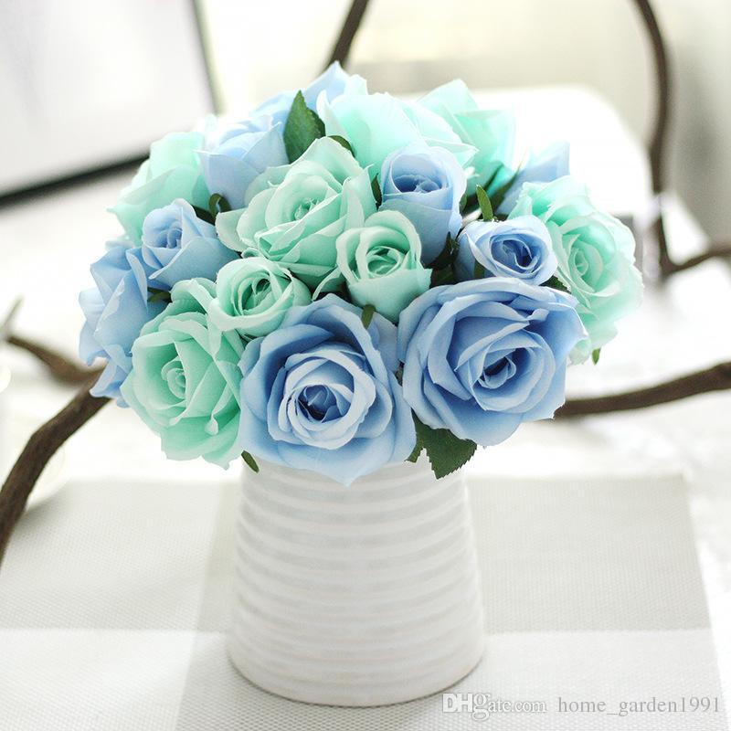 2018 Silk Flower Wedding Bouquet Roses Artificial Flowers Autumn ...