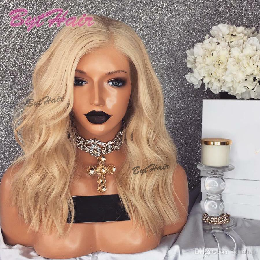 Bythair 613 Blonde Farbe Volle Spitze Perücken Vrigin Brasilianische Haar Blonde Spitze Vordere Perücke Kurze Bob Wellenförmige Menschliche Haar Perücke Mit Babyhaaren