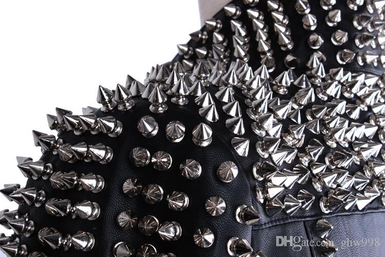 Remache de metal delgado cuero fino cuero de LA PU mujeres de cuero de lavado sexy chaqueta femenina envío gratis