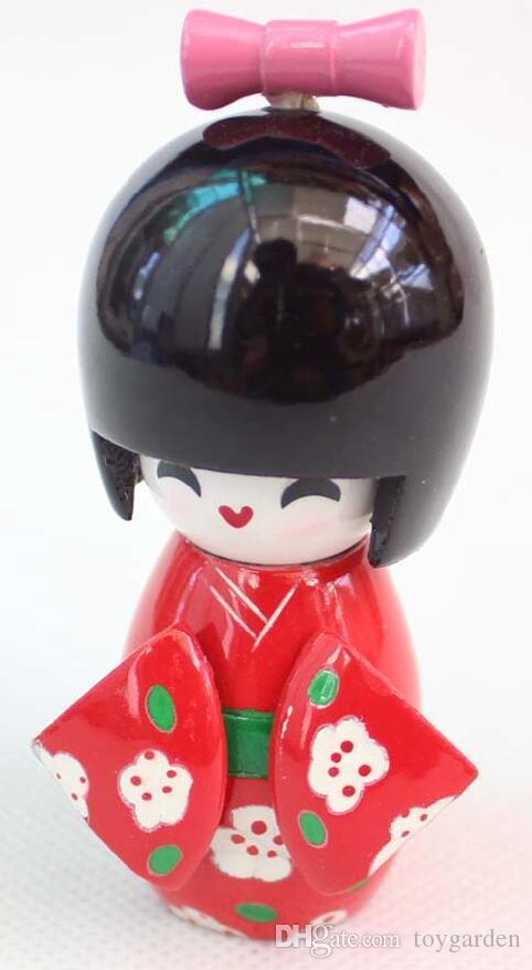 Toptan 10 adet kırmızı bebek Tahsil Japon Çiçek ahşap Kokeshi Bebekler sevimli kız Hediye