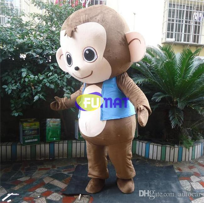 FUMAT Lovely Monkey Cartoon Costume High Quality Supercute Halloween Children Party Mascot Costume Adult Size Sample Picture Customization
