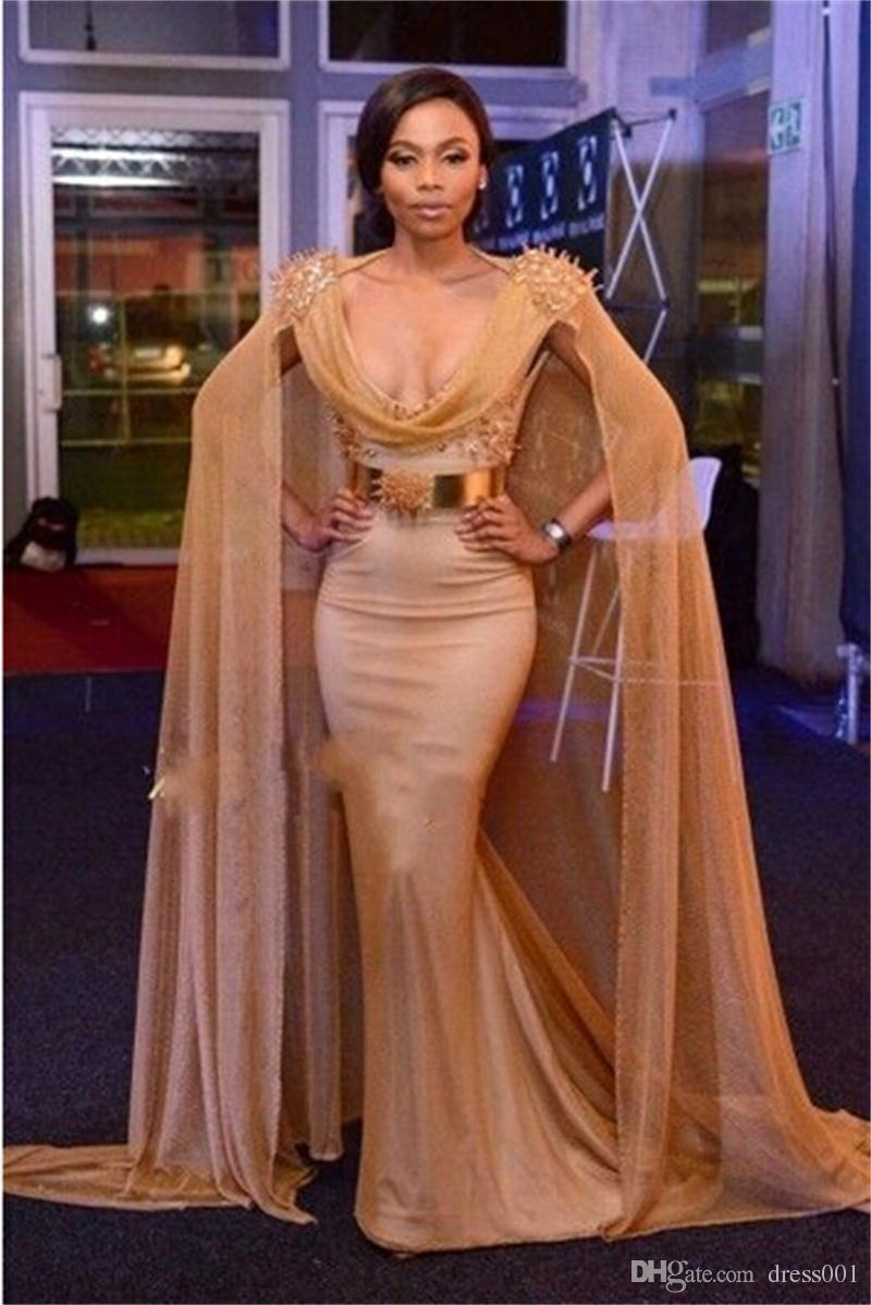 celebrity red carpet dresses with cape gold belt beads